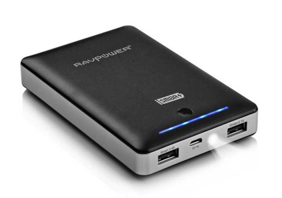 The RAVPower 16000mAh Power Bank with a build in LED torch
