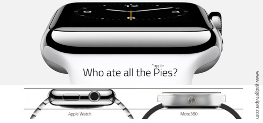 Thickness comparisson between the Apple Watch and the Moto 360