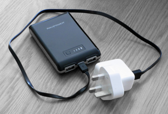 Charge the RAVpower portable phone charger using wall pocket