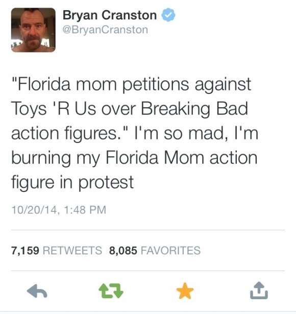Bryan Cranston tweets about Florida mom who wants Breaking Bad Figures banned from Toys 'R Us