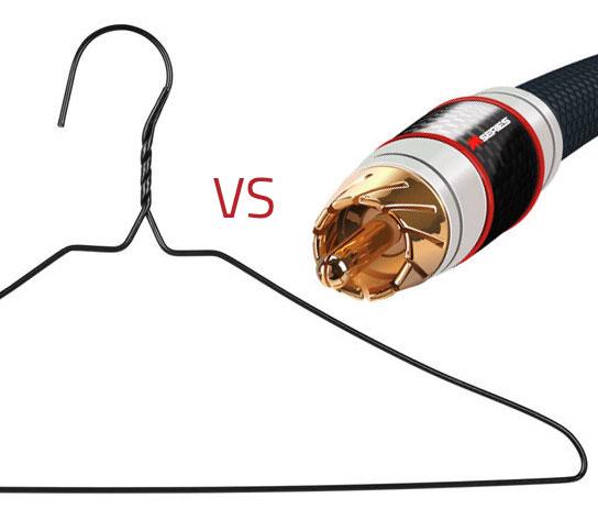 coat hanger vs speaker cable blind test