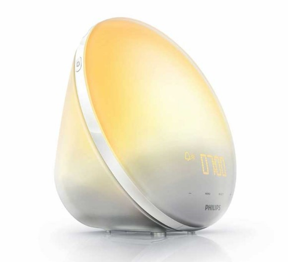 The HF3510 Philip Wake up Light alarm clock featuring an orange to yellow sunrise simulator
