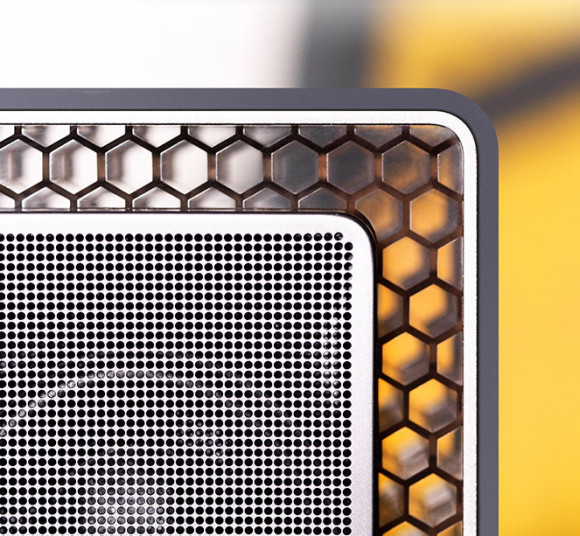 The B&W T7 bluetooth speakers unique honeycomb cabinet design