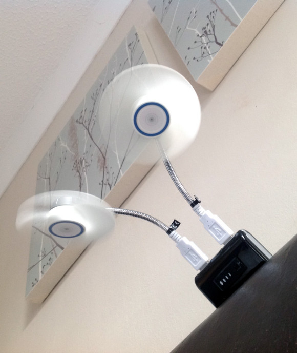 Using a portable phone charger to power a USB fan in the bedroom