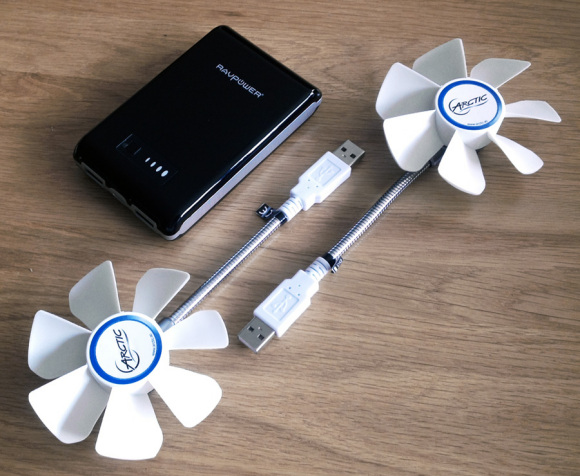 The Arctic Breeze USB fan made portable with a battery pack