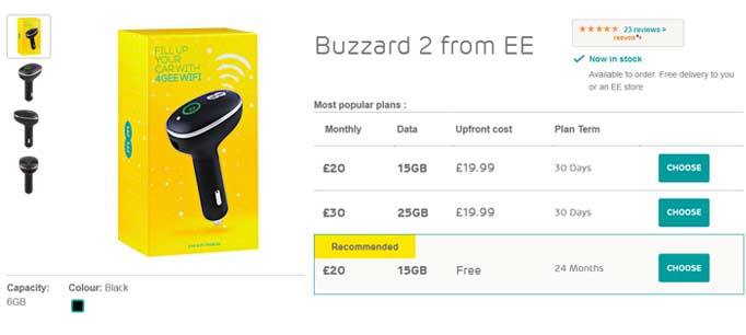 EE Deals - Get the Buzzard 2 car 4G dongle for free on a ee contract.