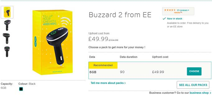 See the latest ee deals on the Buzzard 2 4G dongle for in car WiFi