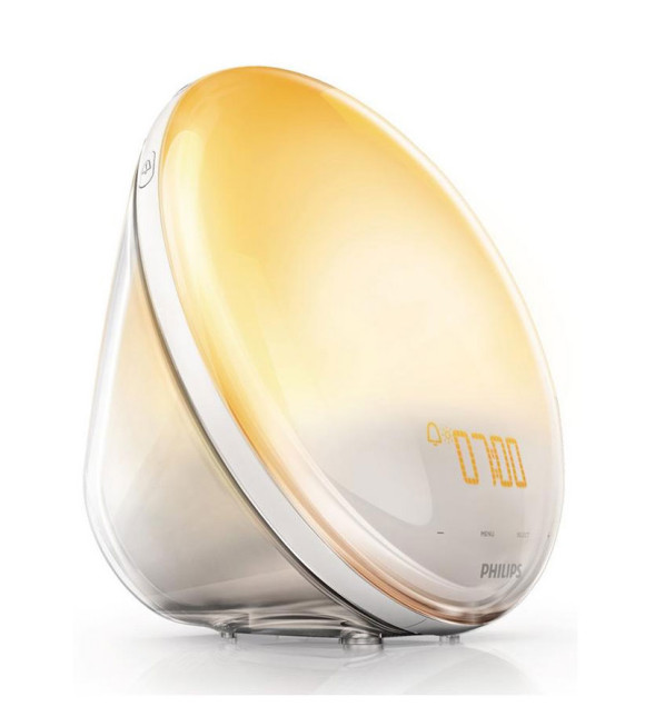 The Philips Wake up Light with the gradual sunrise setting
