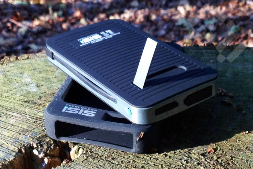 The iSIS Freeloader Solar Phone Charger has a built in support stand to help position the device when solar charging