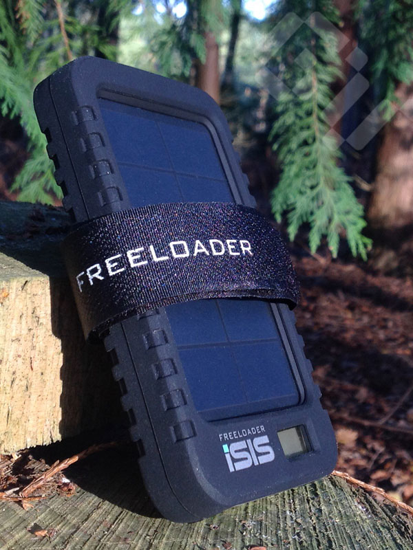 The iSIS solar charger used with it's case and backpack strap