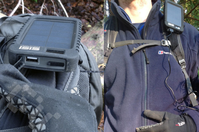 Hiking with the iSIS solar phone charger mounted on my bag strap