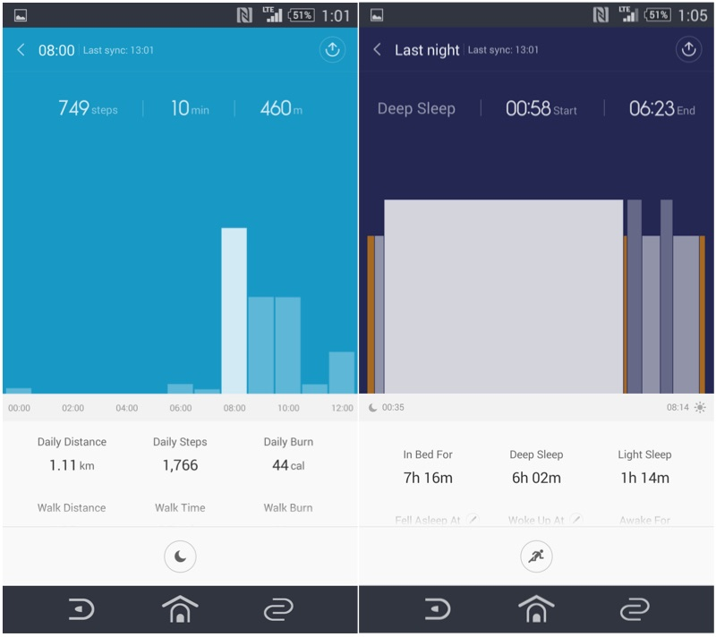 Screenshots of the Mi-Band fitness app