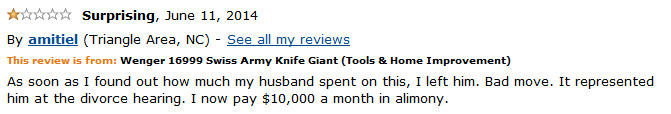 Another funny customer review of the Wenger 16999 Knife