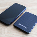 The Transcend ESD400 SSD compared to a Moto G phone