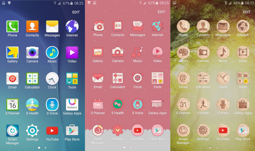 The Galaxy S6 allows you to choose from a huge range of themes