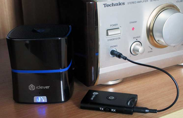 The iClever bluetooth transmitter and receiver once paired to a bluetooth speaker can be plugged in to any audio device with a headphone socket
