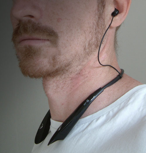 The bluetooth neckband headphones designed to fit comfortably around the neck