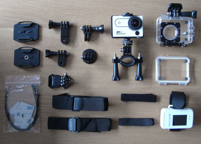 The Camera mounting accessories that come bundled with the BlackView 2 Action Camera