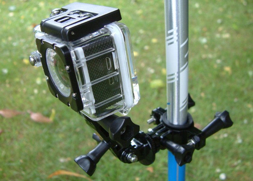 The BlackView 2 Action camera mounted on a hiking pole