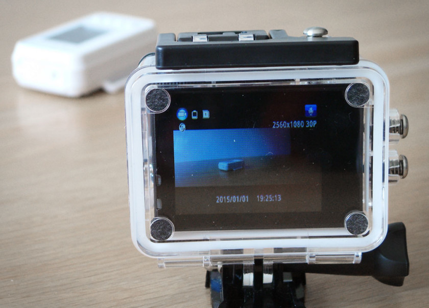A view of the LCD display on the rear of the BlackView Hero 2 Action camera