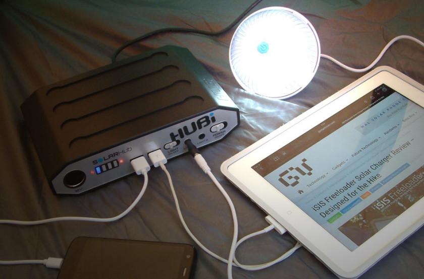 The HUBi solar charging my iPad and phone