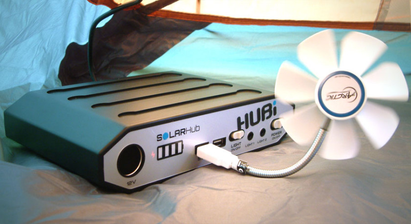 The HUBi Solar hub with a USB powered fan.