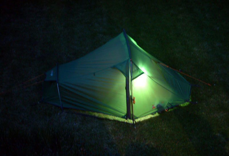 The 2 LUMi LED lights are bright enough to fully illuminate the tent.