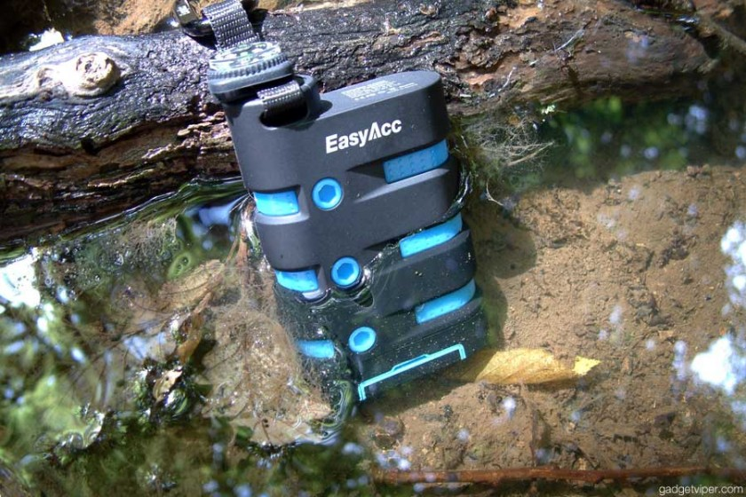 The EasyAcc waterproof power bank submerged in water