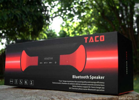 A view of the Taco bluetooth speaker boxed.
