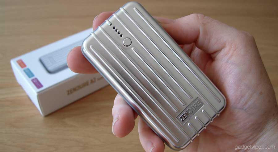 The A2 Zendure portable phone charger is small and light in the hand