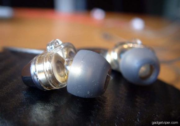 A close up shot of the dual driver earbuds on the GranVela V1's