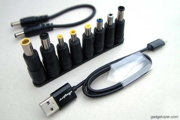 laptop charging plugs and USB cable that comes with the AnyPro portable car jump starter
