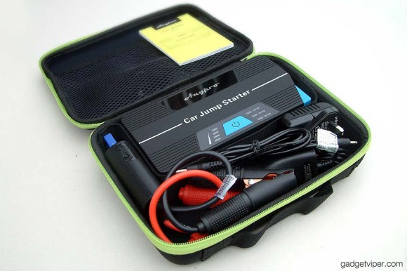 The AnyPro car jump starter and all it's accessories