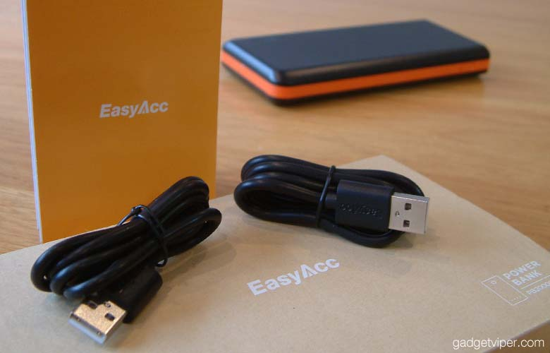 The EasyAcc Monster comes with 2 high quality USB charging cables.