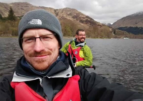 A selfie during a canoe trip in the Scottish Highlands