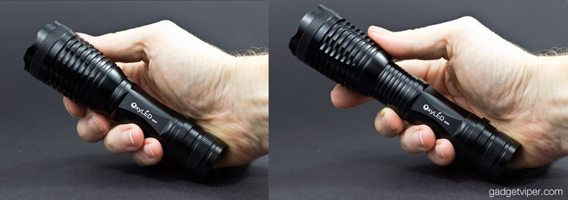 The zoomable beam adjustment of the OxyLED MD50 flashlight
