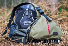 The Caden K1 DSLR camera bag review, a waterproof triangle bag for hiking with a backpack