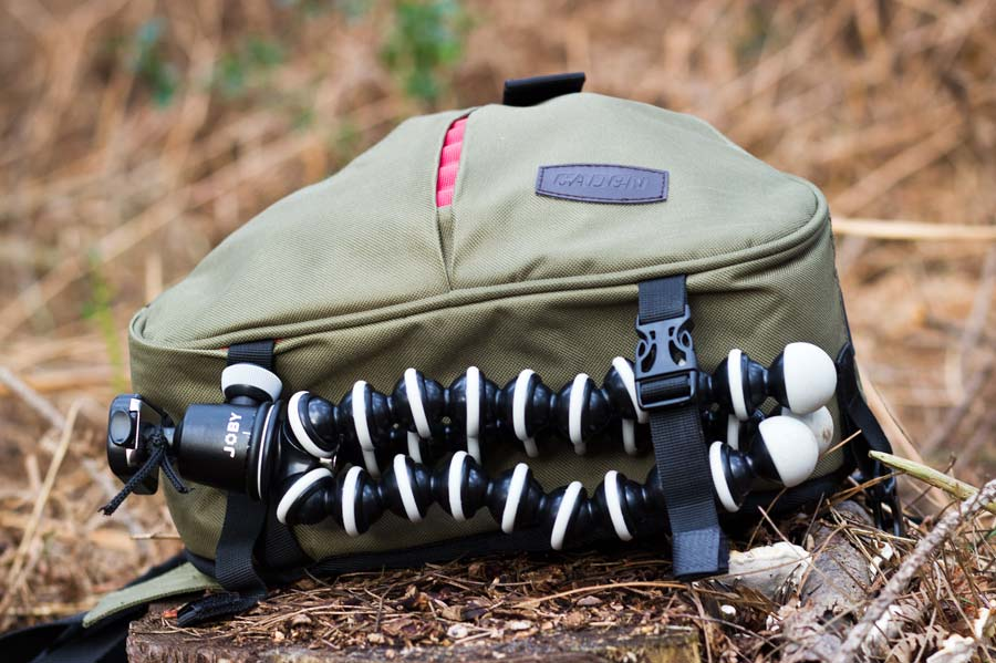 Fitting a tripod to the underside of the Caden K1 DSLR camera bag