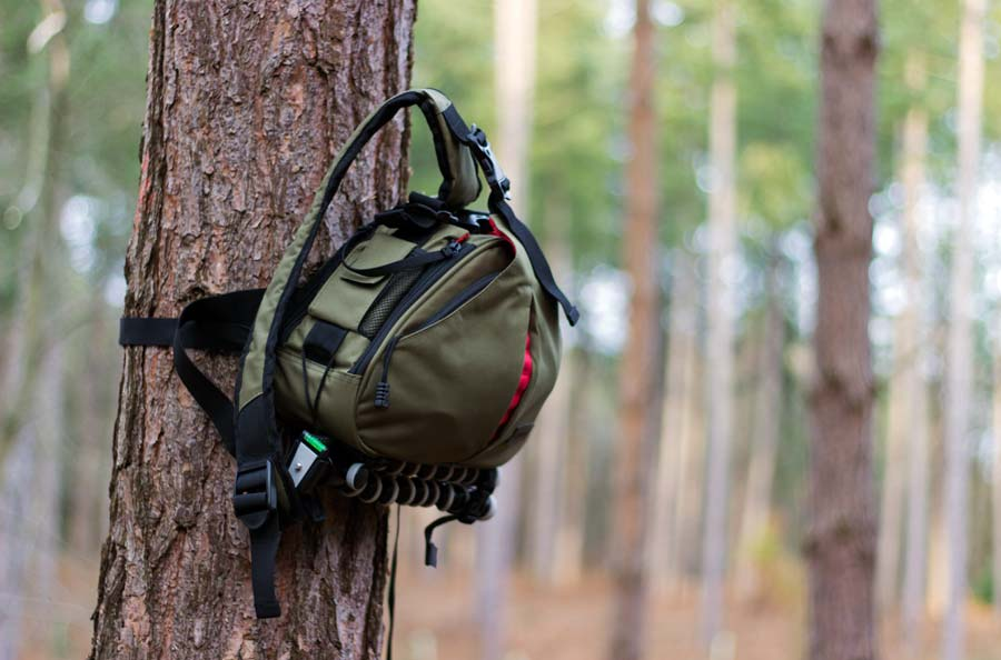 The Caden K1 camera bag used in the outdoors