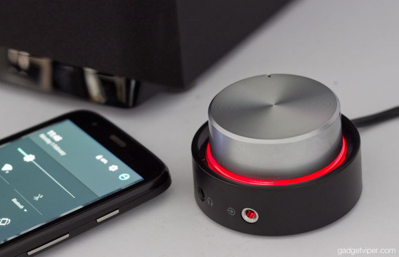 The Edifier M3200BT rotary volume control with a red halo light