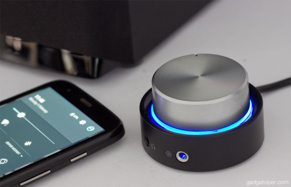 The Edifier M3200BT rotary volume control with a blue halo light to indicate a bluetooth connection