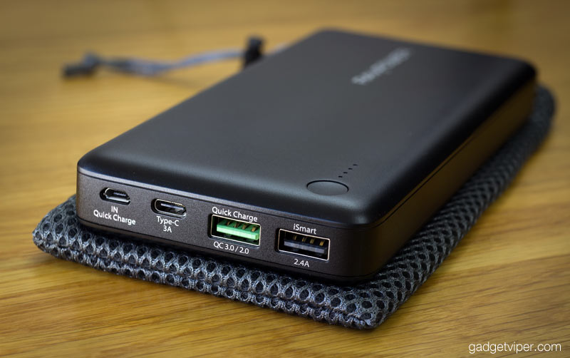 The RAVPower Turbo+ power bank featuring the latest quick charge 3.0 and a type C USB input and output
