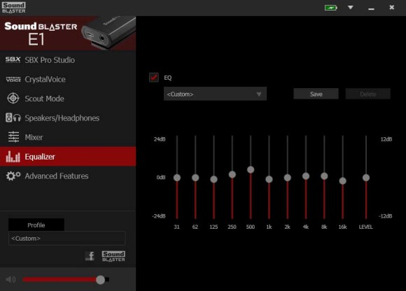 SBX driver software for the Creative E1 portable headphone amp
