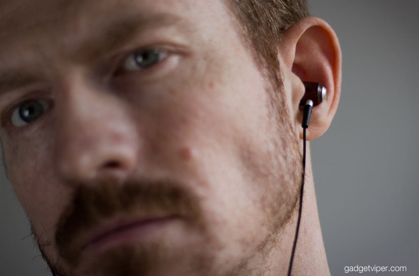 The ZealSound wooden earphones fit snugly in the ears.