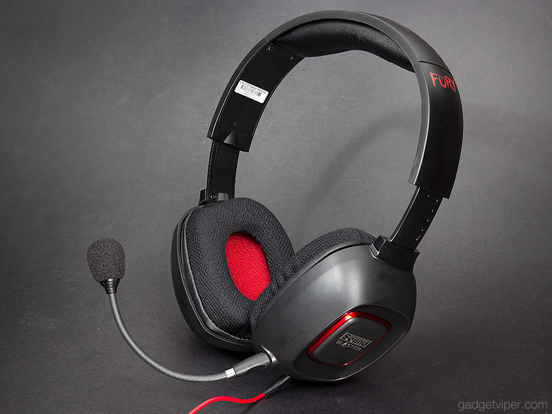 The Creative Sound Blaster Tactic3D Fury with microphone attached