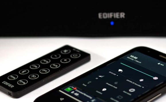 A blue LED indicates the Edifier CineSound B3 is switched to bluetooth mode