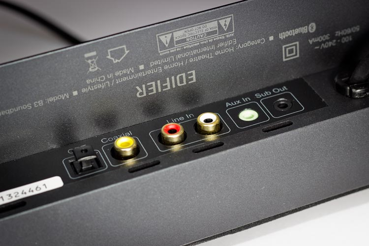 A view of the connection options on the rear of the Edifier CineSound B3 SoundBar