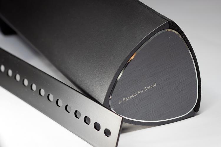 The elegant brushed side panel on the CineSound B3 soundbar