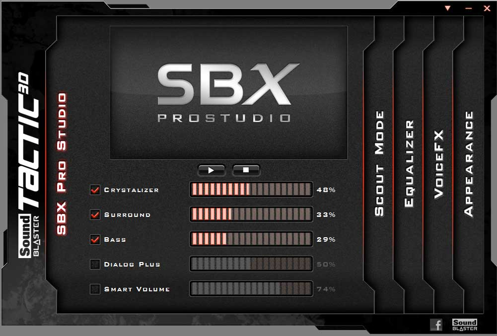 The Creative SBX Pro Studio software for the Tactics3D Fury