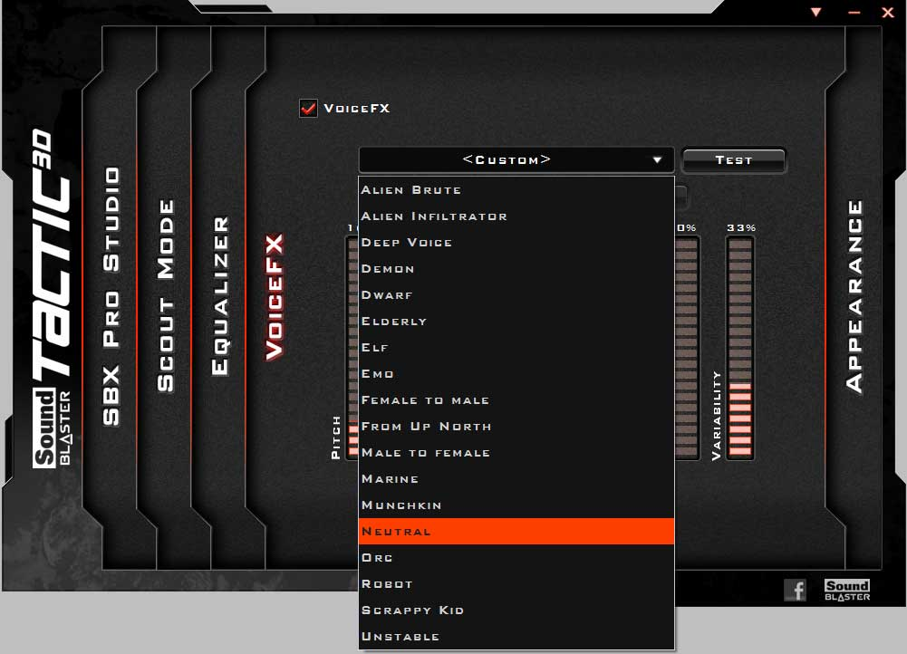 The VoiceFX settings on the Tactics3D Fury gaming headset
